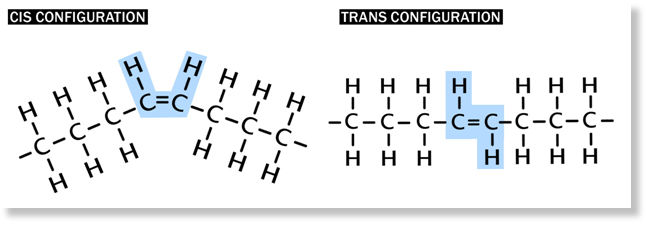 Cis-configuration and trans-configuration of double bonds in fatty acid chain